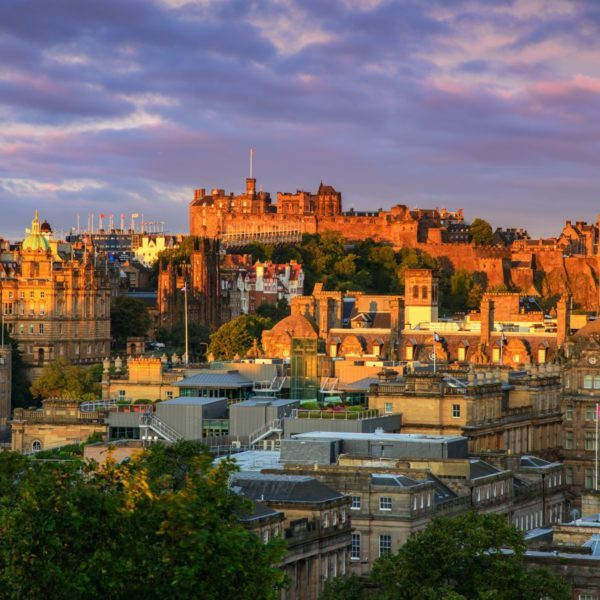 View of Edinburgh castle from Calton Hill, Edinburgh, Scotland.